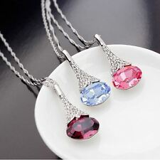 FAST DELIVERY Silver Platinum Plated Crystal Water Drop Pendant Necklace