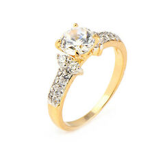 vogue Two Tone Gold Plated Clear Round clear crystal Promise Love Band Ring
