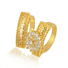 vogue 24K Gold Plated White Round CZ Flower Promise Love Band Ring Set