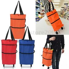 Large Shopping Trolley Bag On Wheels Push Tote Oxford Foldable Grocery Luggage