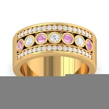 Pink Sapphire FG SI Colour Stone Real Diamonds Wedding Band 18K Solid Gold