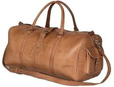 New Men's Brown Vintage Genuine Leather Cowhide Overnight Luggage Duffle Gym Bag