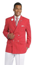 Double Breasted Stripe Red Jacket White Pants 2 PC Wedding Suit EJ Samuel M2707