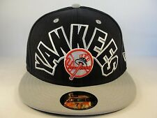 MLB New York Yankees New Era 59FIFTY Fitted Hat Cap Big Word Navy Gray