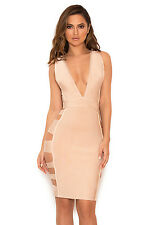 "HOUSE OF CB 'Jansen' Nude Deep Bandage Dress ""Faulty"" MM 10263"
