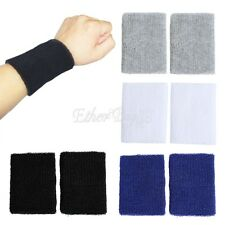 4x Cotton Wristbands Wrist Band Sweatband Sweat Band GYM Sport Tennis  Badminton