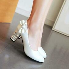 Fashion Womens Sweet Bowknot Pumps Block High Heel Party Wedding Shoes Size US8