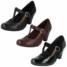 COOLEST LASS LADIES CLARKS T BAR BUCKLE BLOCK HEEL LEATHER SMART COURT SHOES