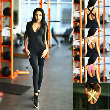 Womens YOGA Workout Gym Sports Athletic Pants Fitness Leggings Stretch Jumpsuit