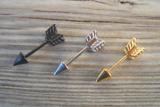 Tragus,Industrial Barbell Arrow,Heart Silver,Black,Gold Color 316LSurgical Steel
