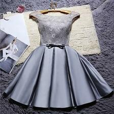 Gray Short Cocktail Dress Formal Wedding Bridesmaid Evening Party Prom Gown 2-16