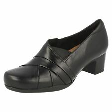 LADIES CLARKS BLACK LEATHER SLIP ON FORMAL TROUSER COURT SHOES ROSALYN ADELE