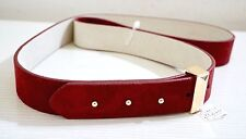 NWT $54 White House Black Market Suede Leather Belt, Red Mahogany, M or XL