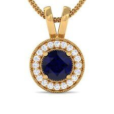 Blue Sapphire FG VS Diamond Round Halo Gemstone Pendant Women Yellow Gold