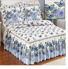 Butterfly Floral Bedding Set Pillow Shams Quilted Bedspread King Queen Full Twin