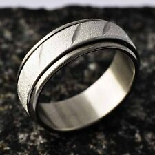 Carving & Sandy Titanium Stainless Steel Band Band spin Ring Size 7 8 9 10 11