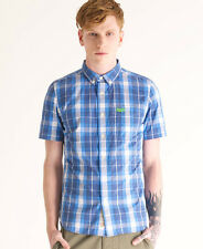 New Mens Superdry New York Button Down Short Sleeved Shirt Snorkel Blue Check VH