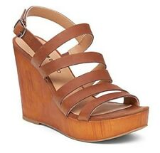 Women's Shoes  Lucky Brand LARINAA Platform Wedge Sandals Heels Leather Almond