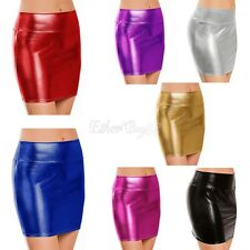 Women Sexy Bandge Leather Skirt High Waist Pencil Bodycon Clubwear Short Skirt