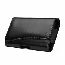 NEW Black PU Leather Textured Horizontal Holster Pouch for Mobile Smart Phones