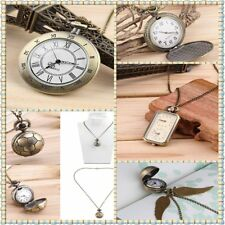Vintage Retro Bronze Quartz Pocket Dress Watch Pendant Chain Necklace wholes GF