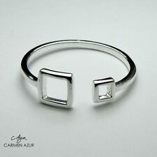 Solid 925 Sterling Silver Ring Squares Design New Ladies Size J,O,Q inc Gift Bag