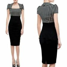 UK WOMEN  PIN UP OFFICE WIGGLE PENCIL DRESS SIZE 8-20