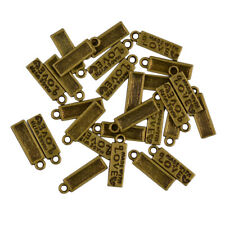 50pcs Antique Golden Silver Made with Love Heart Tag Charms Alloy Pendants
