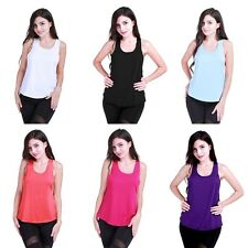 Women Sleeveless Loose Fitness Yoga Stretch Workout Casual Blouse Tank Top S-L