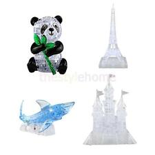 3D Crystal Puzzle DIY Jigsaw Assembly Toy Gift LED Music Castle Eiffel Tower