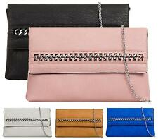 WOMENS LADIES FLAT CHAIN OVERFLAP ENVELOPE FAUX LEATHER PARTY EVENING CLUTCH BAG