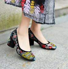 Womens embroidery floral shoes chunky heel pump loafer Folk Slip On Retro suede