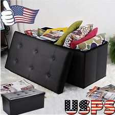 Faux Leather Folding Storage Ottoman Bench Sofa Table Foot Rest Stool Home Decor
