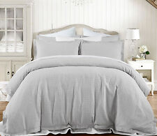 Grand Atelier Grey Hotel 100% Cotton Waffle Quilt Doona Cover set - QUEEN KING