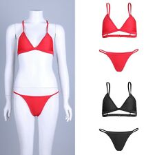 Womens Swimwear Bandage Padded Bra Swimsuit Push-up Bikini Set Top with Bottoms