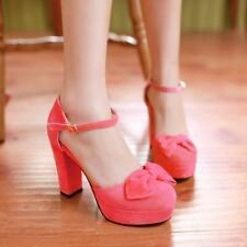 Stylish Sweet Bowknot Ladies Platform Heels Ankle Strap Shoes Sandals Buckle New