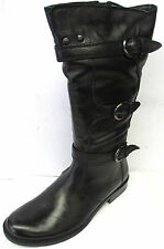 LADIES DAMEN STIEFEL BLACK LEATHER MID CALF BOOTS WITH ZIP FASTENING S-077