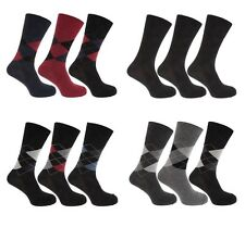 MENS EVERYDAY COTTON RICH SOCKS 3 PACK BLACK NAVY & BURGUNDY DIAMOND DESIGN
