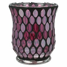 VC050 VILLAGE CANDLE HURRICANE LUSTRE MOSAIC DECOR GLASS TEA LIGHT HOLDER 11CM