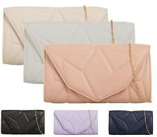 LADIES FLAT ENVELOPE FASHION FAUX LEATHER LARGE PURSE PARTY QUILTED CLUTCH BAGS