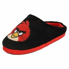 BOYS KIDS ANGRY BIRDS COMFY WARM NOVELTY MULE SLIPPERS
