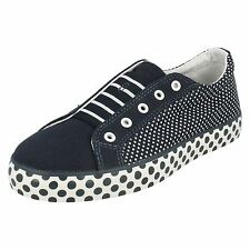 GIRLS CLARKS BRILL LACE CANVAS POLKA DOTS SLIP ON PUMPS TRAINERS BOOTS SHOES