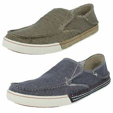 MENS CLARKS SLATEN FREE OLIVE DENIM SLIP ON CANVAS SUMMER CASUAL SHOES TRAINERS