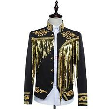 Mens Glitter tassel Fringe singer host coat military embroider Clubwear  jacket