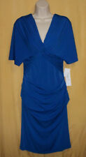 Maggy L women's blue ruched form fitting stretch dress V twisted top dolman $98