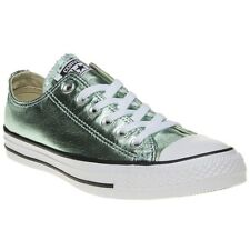 New Womens Converse Green Metallic All Star Ox Canvas Trainers Lace Up