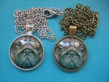 Pug Dog Face Necklace & Pendant Glass Metal Chain Silver or Bronze Tone Puppy