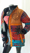 Hippie Boho Aztec Multicolour Razor Patchwork Cotton Fleece Lined Hooded Jacket