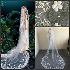 Bridal Veils Lace Appliques Wedding Veils Beaded White Ivory Cathedral + Comb