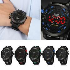 Cool Mens OHSEN Sport Waterproof Watch LED Digital Analog Quartz Wrist Watch HK